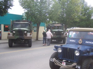 Historical military vehicles being displayed in Merritt. File photo KDG