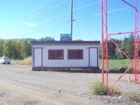 The press box at the enterance to the Music festival grounds now used by Sturgis Canada.