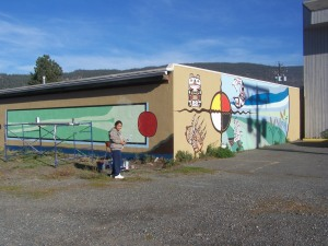 A First nations perspective is added during the mural project that saw country stars painted on buildings File photo: KDG