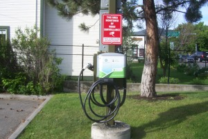 Green EV charger Photo KDG