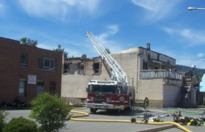 The day after a fire on Quilchena avenue sees a fire watch. Photo KDG