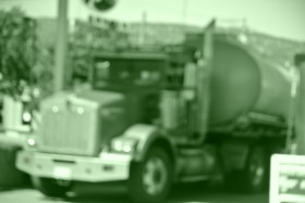 A 58,000 liter fuel truck delivers gasolinr to a service station Photo KDG
