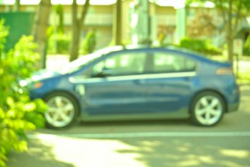 A General Motors product, Chevy Volt charges up on the free AC Charger, July 2014 Photo KDG