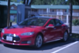 A Tesla S, 85 charges up at Merritt, with an adapter to a DC 500 Volt 120 amp Quick charger, Aug /14 File Photo KDG