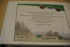 One of 8 volumes of the environmental assessment. for the Lower Mainland 500 KV line. Hard copy at Public library. Photo KDG