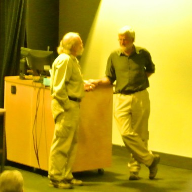 Alan Burger and a speaker discuss a presentation, Nicola Naturalists, Merritt BC ,Ca File Photo KDG