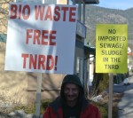 A demonstrator outside the public meeting for the information of waste dumping in the Sunshine valley Photo KDG