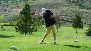 Markey93 keeps his eye on the ball at the nicola valley golf and country club in Merritt Photo KDG